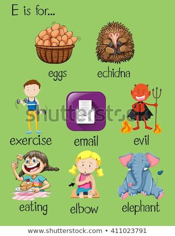 flashcard letter e is for evil stock photo © bluering