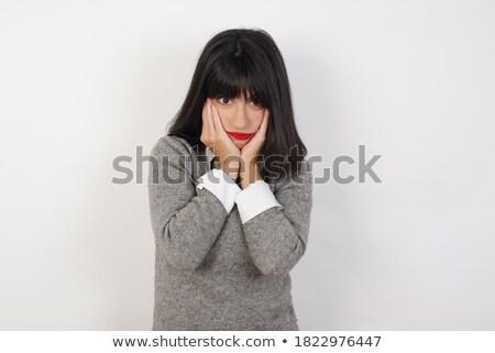 Portret depressief moe asian zakenvrouw permanente Stockfoto © deandrobot