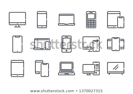 notebook with phone icons stock photo © bluering
