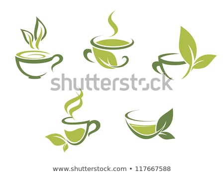 vector drawing of cup of tea and green leaves stock photo © freesoulproduction