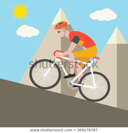the cyclist up the mountain stock photo © orla