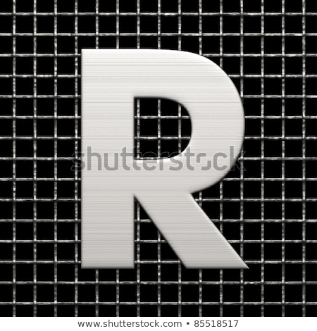 metal lattice font letter r 3d stock photo © djmilic