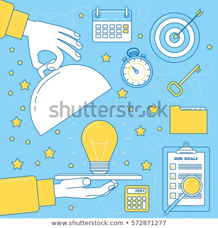 Great idea metaphor, light bulb served on a dish tray. stock photo © kali