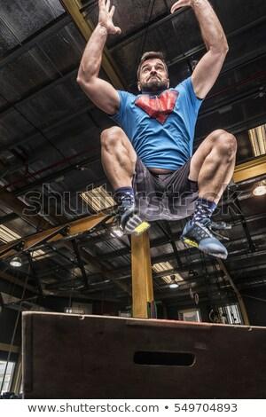 athletic man with intense face and beard wearing a blue tee shir stock photo © yatsenko