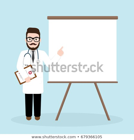 doctor in medical gown giving presentation stock photo © rastudio