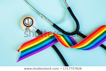 フラグ リボン 孤立した 虹 テープ バナー ストックフォト © popaukropa