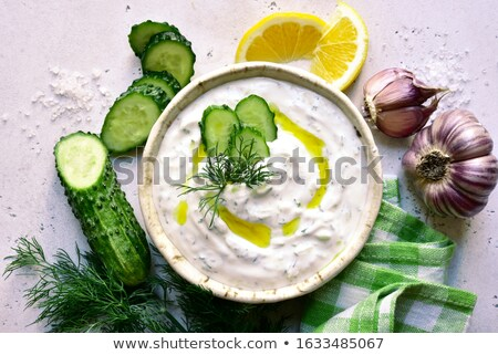 Tzatziki dip and ingredients stock photo © Lana_M
