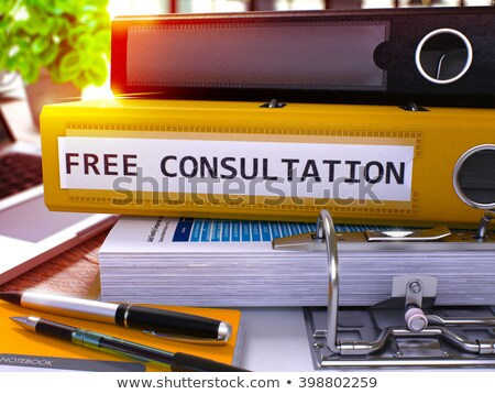 Geel kantoor map opschrift gratis overleg Stockfoto © tashatuvango