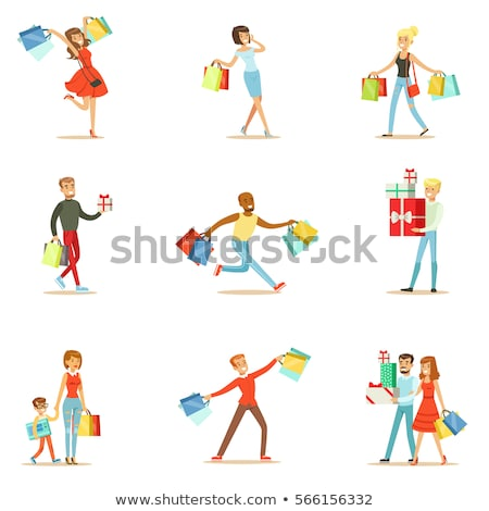 man shopping holding pile of cartons Stock photo © IS2