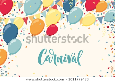 Banner for carnival mardi gras. Garland flag, handwritten text and clown cap symbol of masquerade Stock photo © orensila