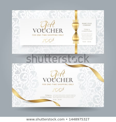 luxury golden and silver gift voucher with vintage ornament pattern stock photo © liliwhite