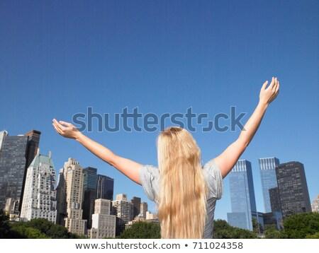 Vrouw armen Central Park stad reizen leuk Stockfoto © IS2