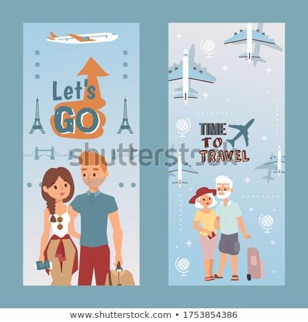 Travelling people vertical flyers set Stock photo © studioworkstock