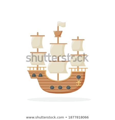 Groot geïsoleerd witte icon zijaanzicht zeilboot Stockfoto © studioworkstock