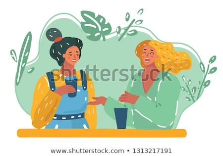Két nő telefon párbeszédek nő kanapé női Stock fotó © IS2