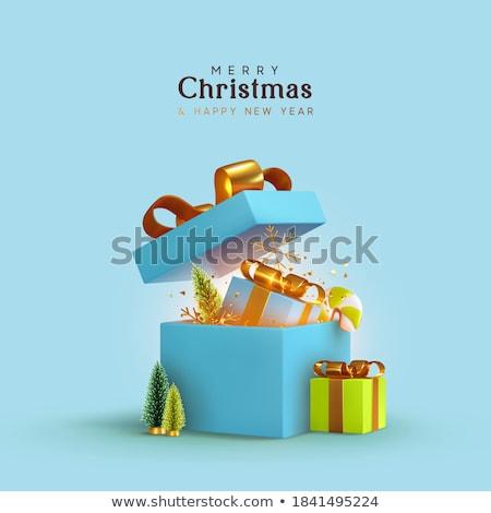 Kék ajándék doboz ajándék minta karácsony senki Stock fotó © IS2