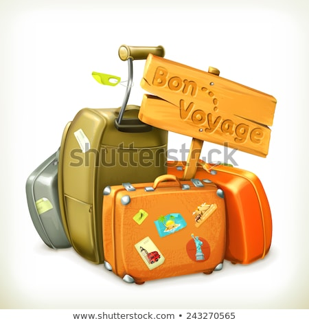 Retro suitcase. Luggage bag for travel. Vector Stock photo © LoopAll