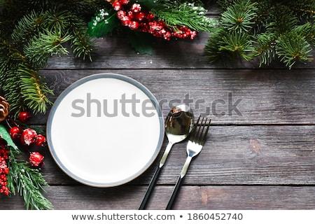 Natal mesa de jantar delicioso frango aperitivos Foto stock © Melnyk