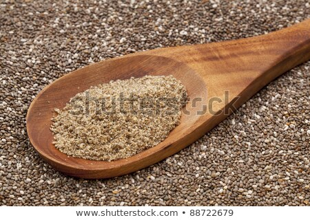 ground chia seeds in wooden scoop stock photo © melnyk