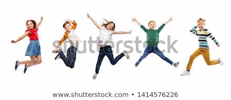 Foto stock: Menino · saltando · branco · ilustração · homem · feliz