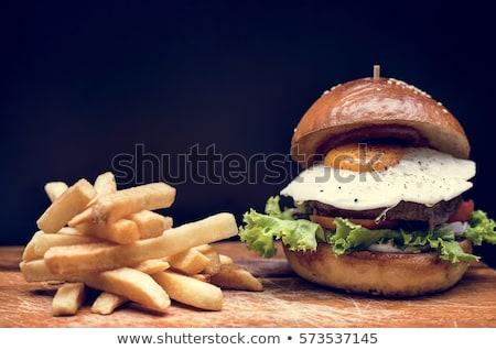hamburger · tükörtojás · illusztráció · tányér · étel · kenyér - stock fotó © olegtoka