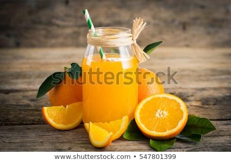 fruto · de · laranja · folhas · verdes · mesa · de · madeira · topo · ver · comida - foto stock © denismart