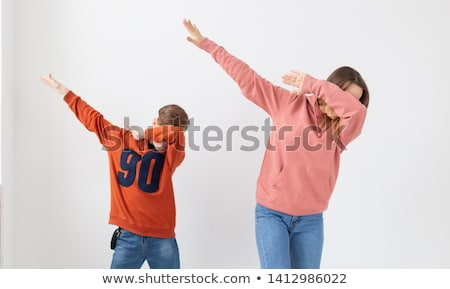 two children dancing white background stock photo © bluering