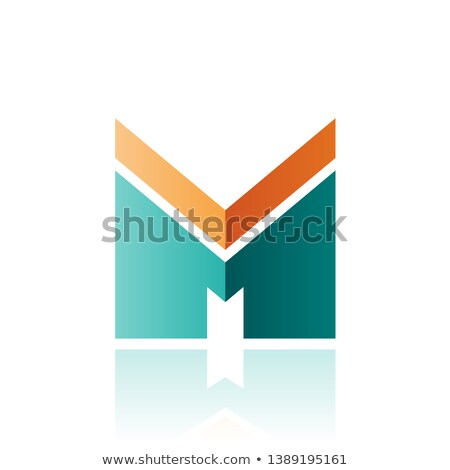 orange and green letter m with a thick stripe and reflection vec stock photo © cidepix