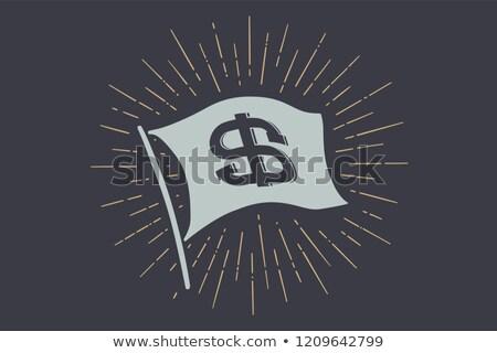 Stok fotoğraf: Bayrak · dolar · eski · okul · afiş · imzalamak