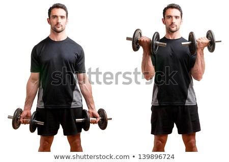 man doing dumbbell biceps curls stock photo © kzenon