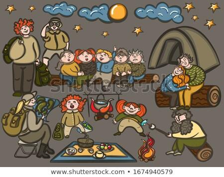 Stock fotó: Boldog · család · gyerekek · ül · körül · tábortűz · vektor