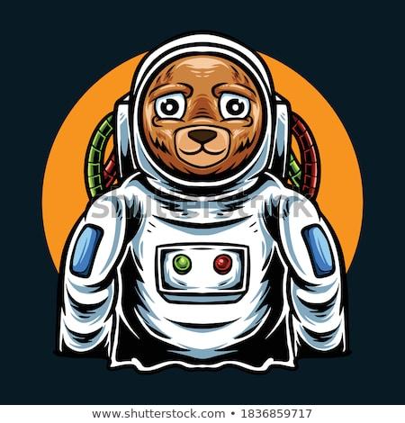 Karikatür öfkeli astronot ayı bakıyor Stok fotoğraf © cthoman