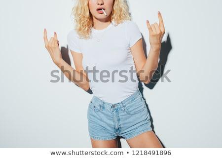teenage girl smoking white background stock photo © bluering