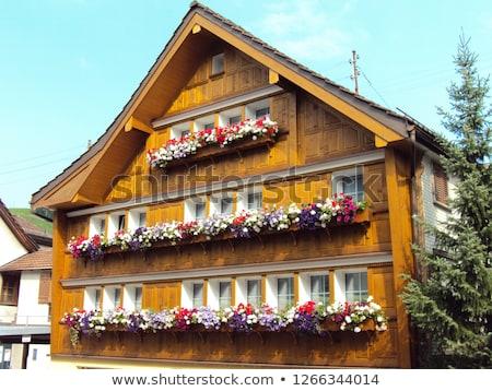 Telhado tradicional casa Suíça textura construção Foto stock © boggy