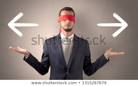 cubierto · ojo · empresario · pared · indeciso · pie - foto stock © ra2studio