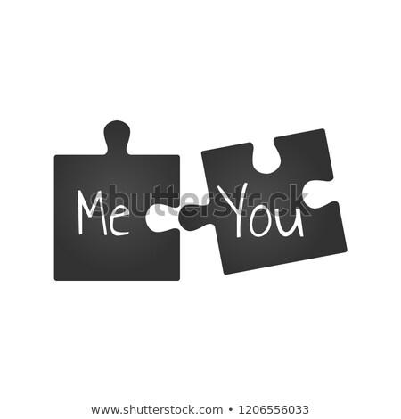 Stok fotoğraf: Siyah · iki · puzzle · parçaları · bana · romantik · ilişki