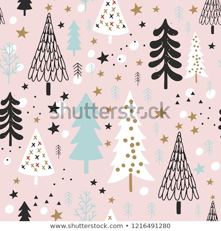 cute vector seamless pattern with christmas and winter clothes stock photo © pravokrugulnik