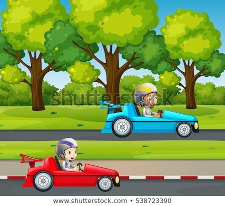 два дети Racing автостоянки иллюстрация дороги Сток-фото © colematt