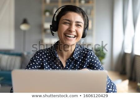 Onderneemsters video chat kantoor business technologie Stockfoto © dolgachov