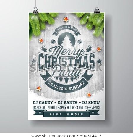 Karácsony buli szórólap illusztráció fényes üveg Stock fotó © articular