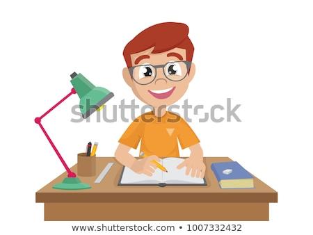 Mały chłopca praca domowa ilustracja domu szkoły Zdjęcia stock © artisticco