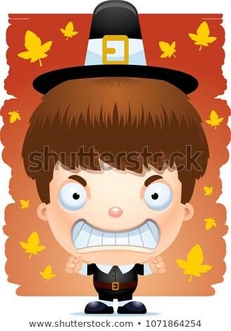 Mérges rajz zarándok illusztráció néz kalap Stock fotó © cthoman