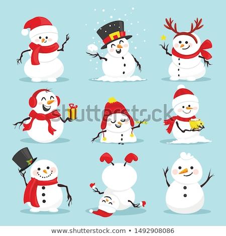 Рождества снеговик Hat шарф иллюстрация зима Сток-фото © IvanDubovik