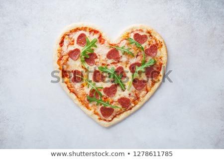 Kalp pizza domates mozzarella sevgililer günü Stok fotoğraf © karandaev