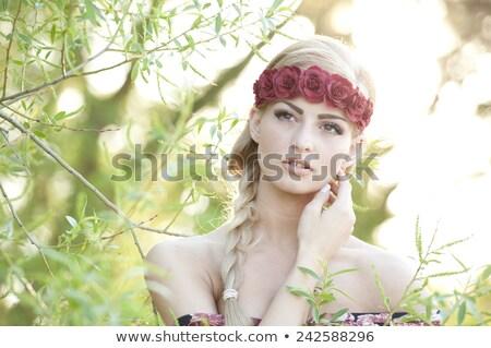 portret · edele · vrouw · gouden · toga - stockfoto © konradbak