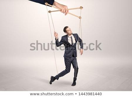 Báb üzletember hatalmas kéz üres szoba üzlet Stock fotó © ra2studio