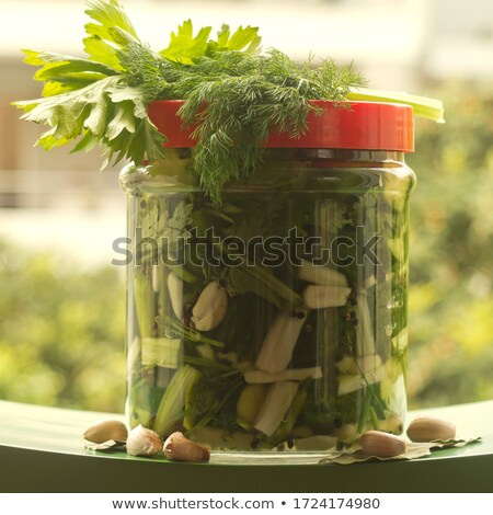 Pickles Cucumbers Bay Leaf Garlic, Dill and Pepper Stock photo © robuart