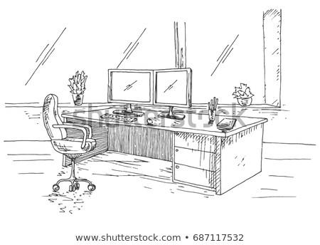 Dessinés à la main travail derrière travail table chaise de bureau Photo stock © Arkadivna