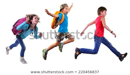 kids running on white background stock photo © colematt