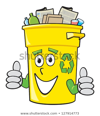 Happy Yellow Recycle Bin Cartoon Character Stock photo © hittoon